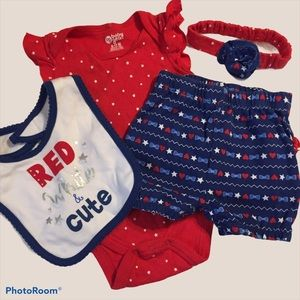 Red White Blue Baby 4pc Set 4th of July 9-12 Month
